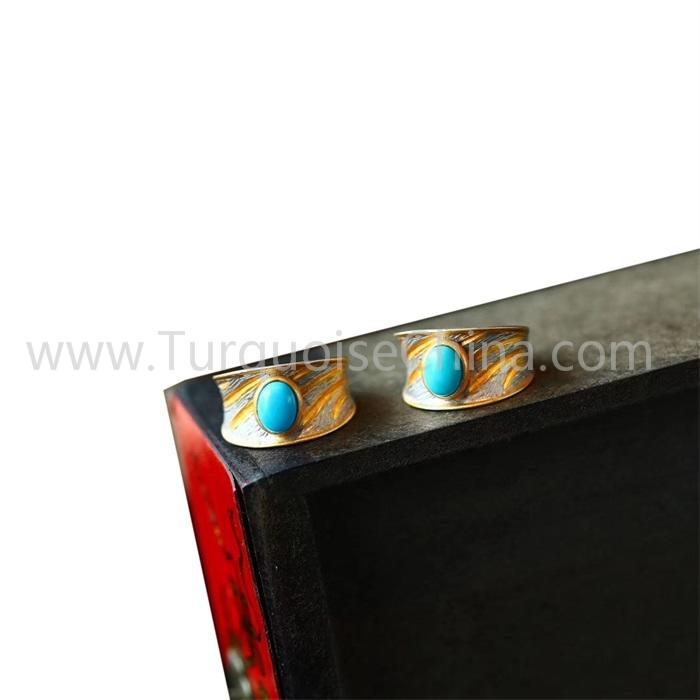 Hot-sale Gold Ring Made With Natural Turquoise For Men And Woman
