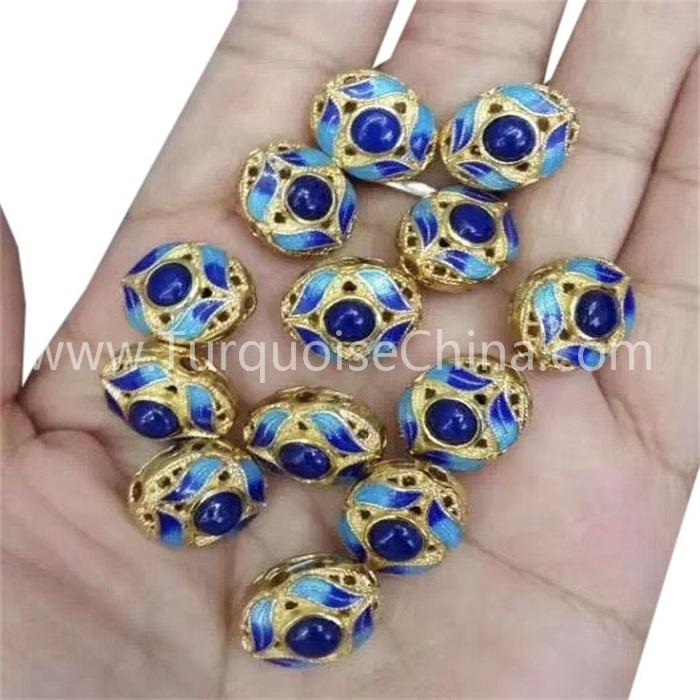 Cloisonne Silver Fittings With Inlaid Lapis Jewelry
