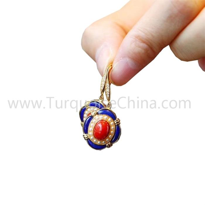 Natural Lapis And South Red Agate Earrings Jewelry