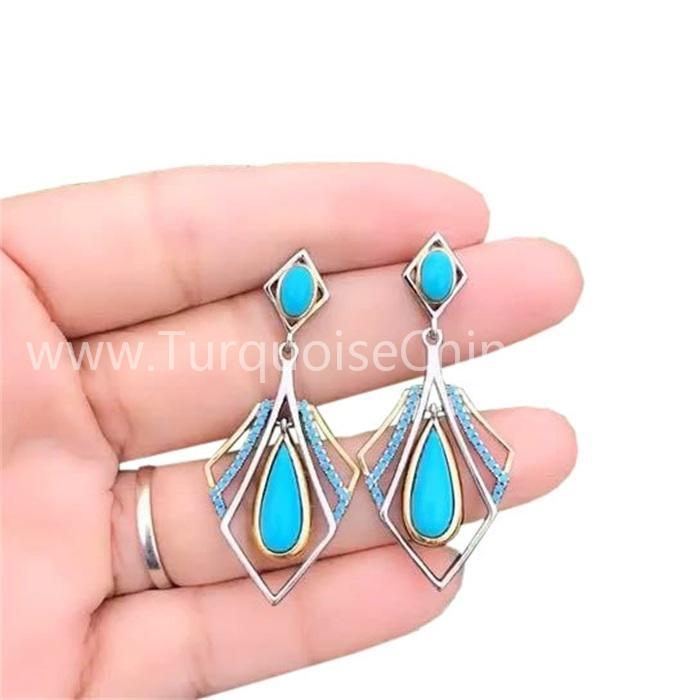 Teardrop Natural Turquoise Chic Dangler Blue Earrings