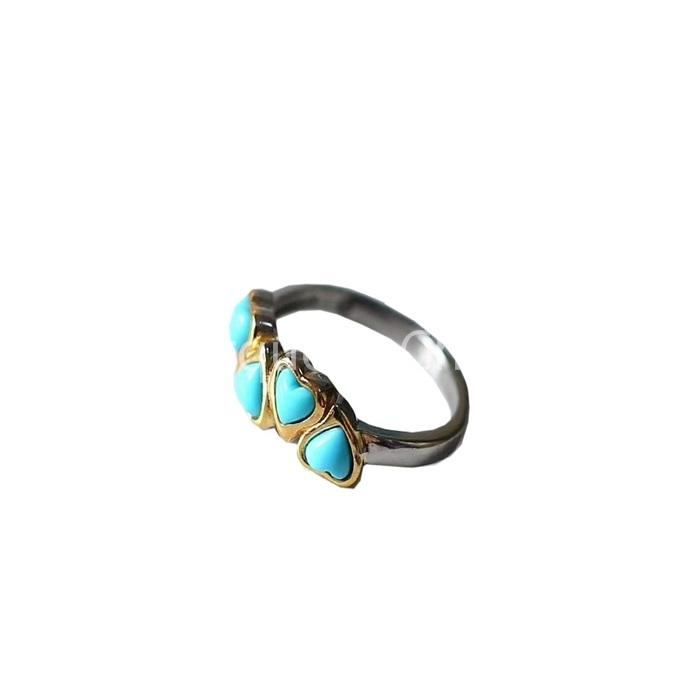 Turquoise Heart-shape Ring in Sterling Silver