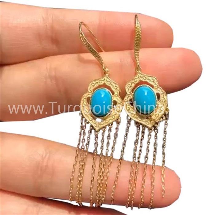 Natural Oval Turquoise Gemstone Dangler Gold Earrings
