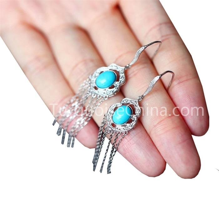 Natural Oval Turquoise Gemstone Dangler Sterling Silver Earrings