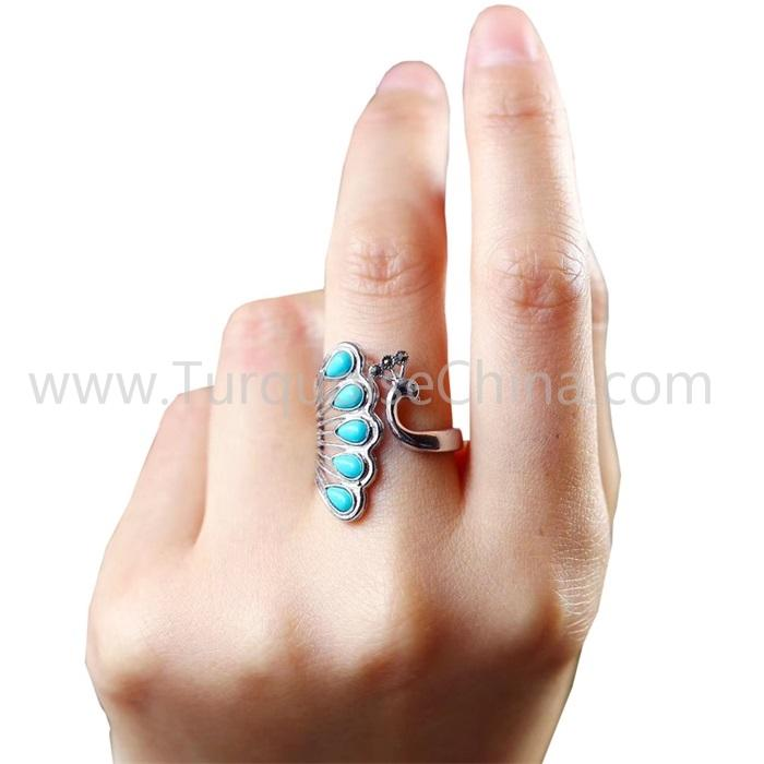 Natural Turquoise Lovely Peacock Ring Silver Jewelry Gift For Woman