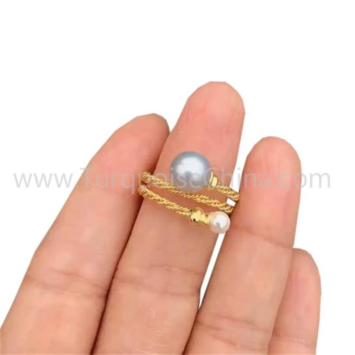 Elegant Pearl Ring Double White Beads Jewelry
