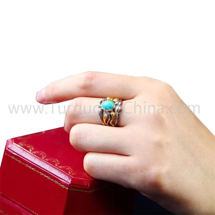 Blue Oval Turquoise Hollow Ring Gemstone For Men And Woman