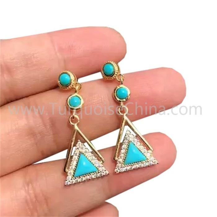 Turquoise Gemstone Earrings Triangle Dangler