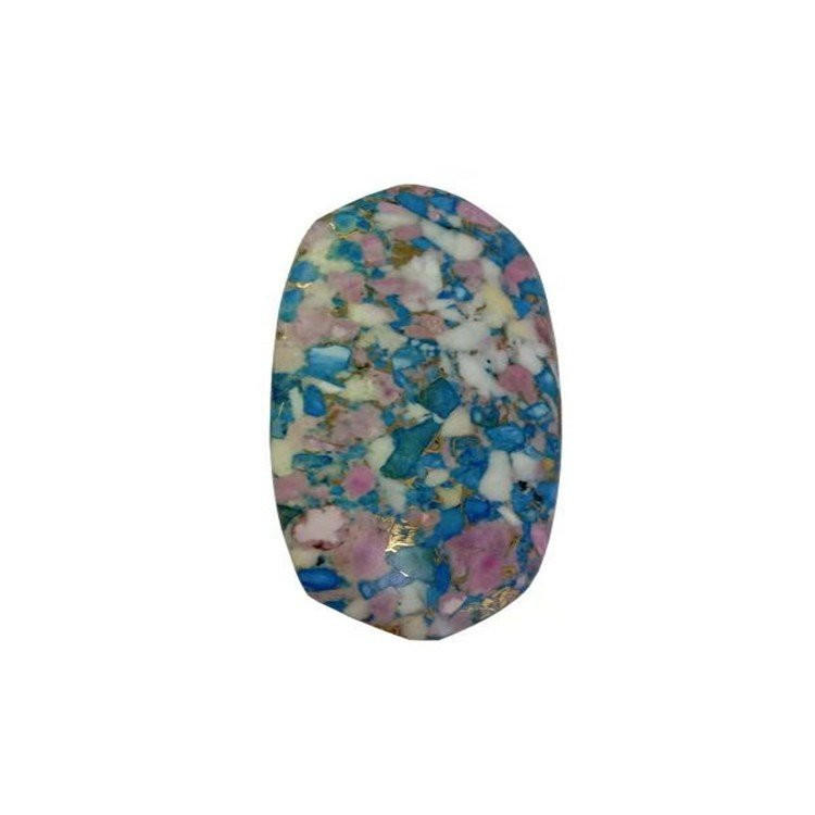 Turquoise And Pink Opal And Shell Compressed Cabochon For Making Pendant Dangler Jewelry