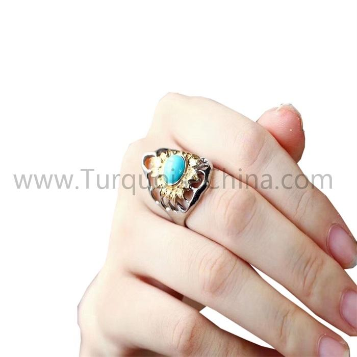 Hot-sale Natural Blue Gemstone Round Turquoise Hollow Ring For Men And Woman