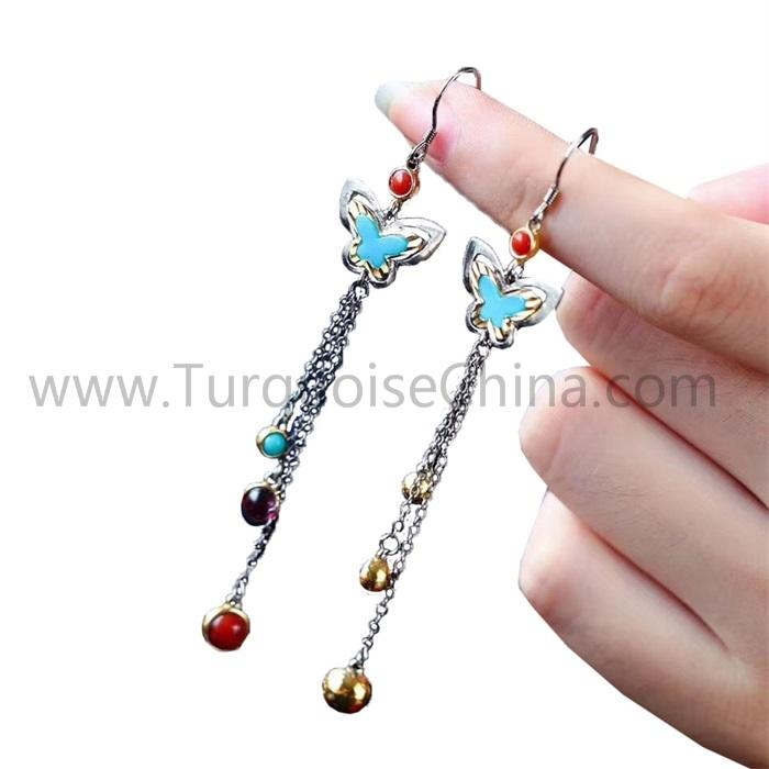 Natural Turquoise Butterfly Tassel Dangler Long Earrings For Woman