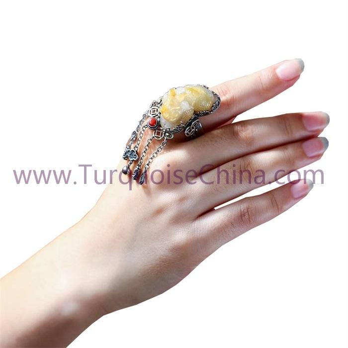 Natural Beeswax Amber In White And Yellow Color Pi Xiu Ring