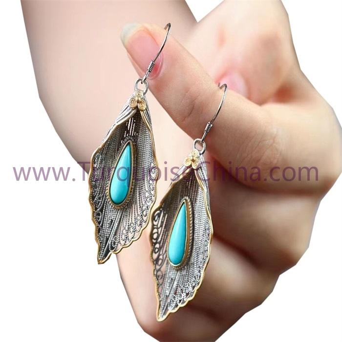 Natural Turquoise Fashion Earrings Charm Leaf-shape Dangler For Woman