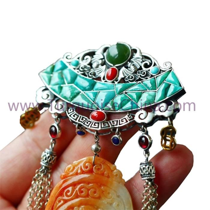 HuangLong Jade Carved Dragon and Cloud Antique Tibet Ornament With Turquoise Pendant