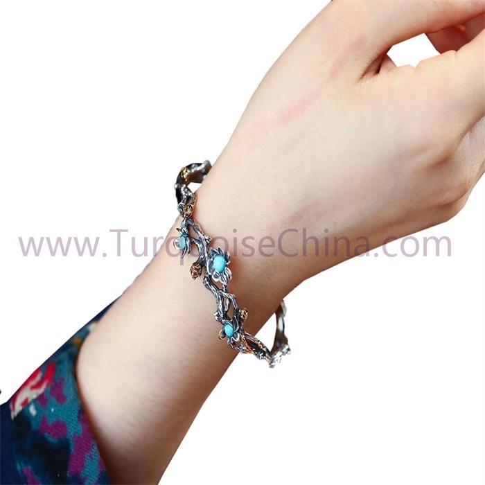 Natural Turquoise Gemstone Flower-shape Sterling Silver Bracelet