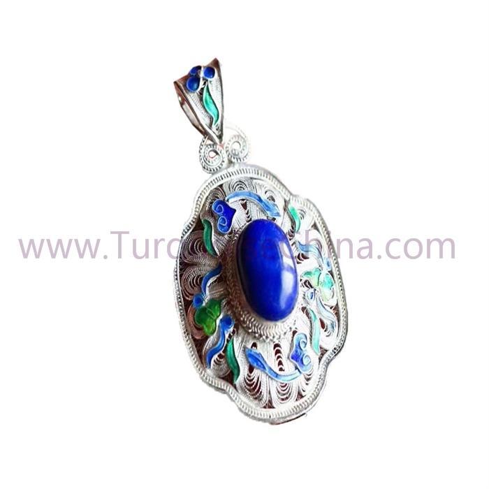 Elegant Blue Lapis Oval Pendant Woman Jewelry