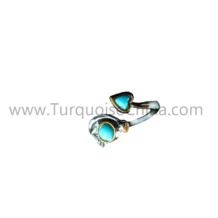 Turquoise 925 Sterling Silver Ring Woman's Jewelry With Heart-shape And Round Cabochon