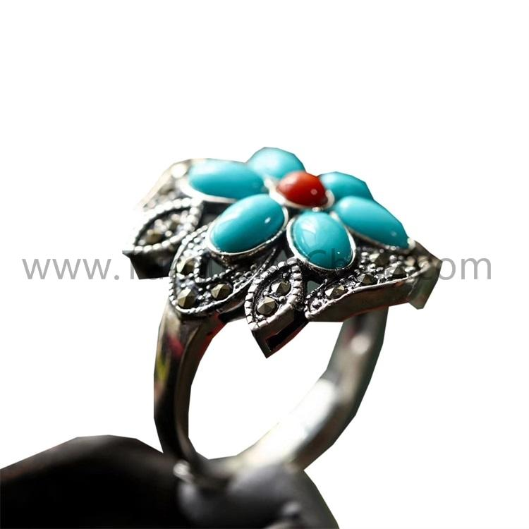 Flower-shape 925 Sterling Silver Ring With Turquoise Cabochon Gemstone