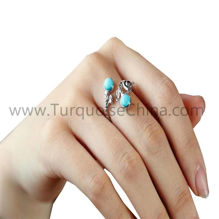 Round Turquoise Ring 925 Sterling Silver Jewelry For Woman
