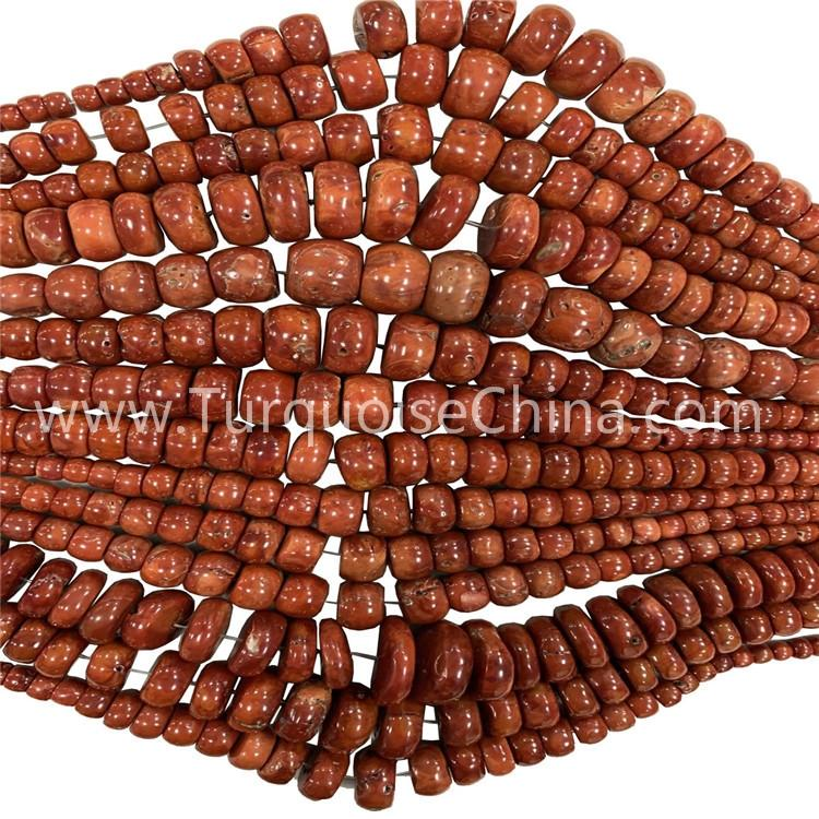 Raw Red Coral Rondelle Beads Strings Mixture Size For Making Jewelry
