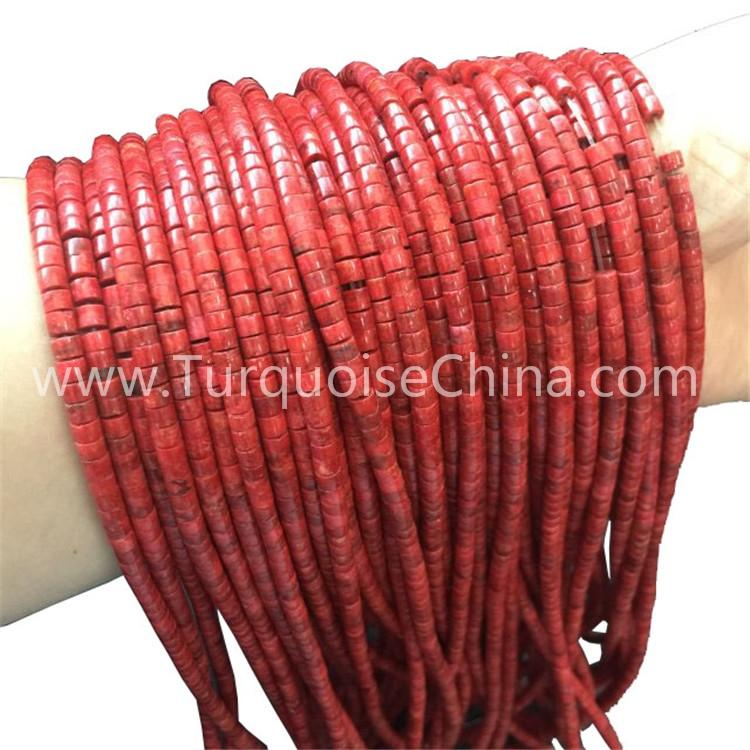 Compressed Bamboo Coral Red Rondelle Beads Wholesale