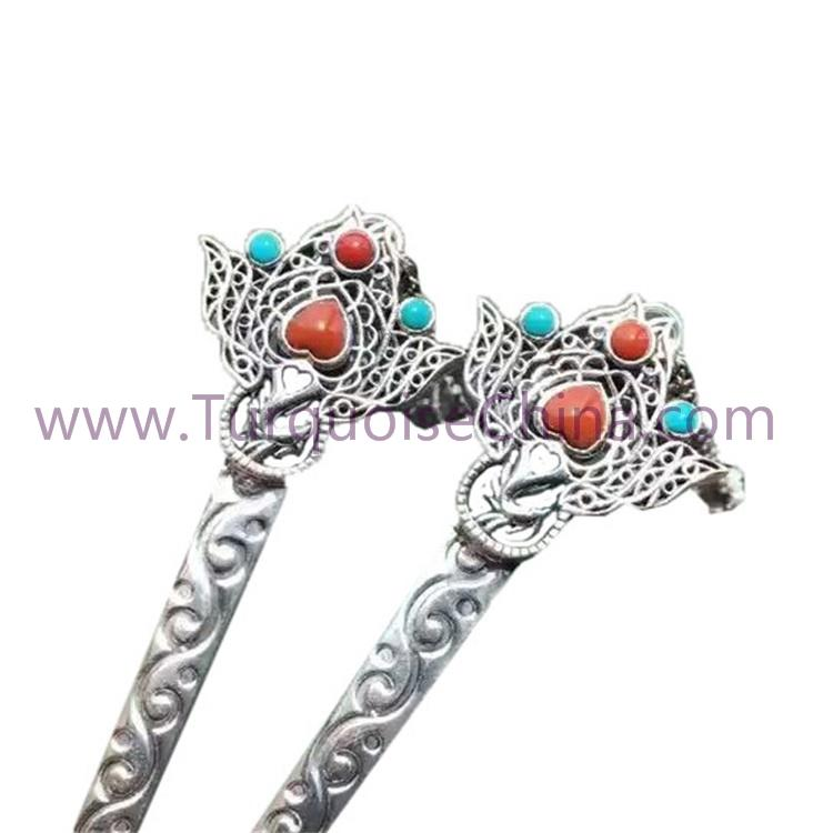 New Women Hair Stick 925 Sterling Silver Handmade HairPin With Gemstone