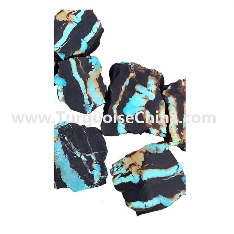 Special pattern blue and black mixture turquoise raw rough material
