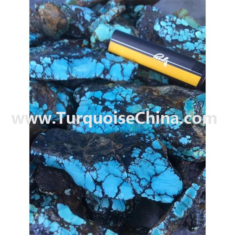 Natural Spider-Web Rough Blue Turquoise For Jewelry Making