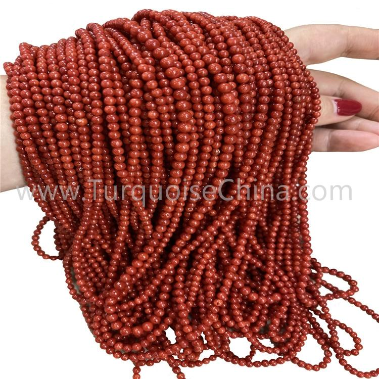 Beautiful Red Coral Round Shape Beads Wholesale Gemstone