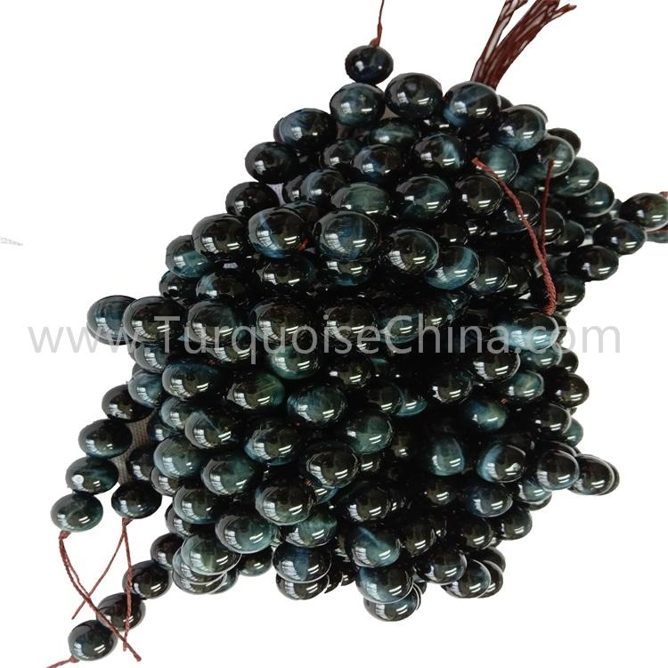 Fashion Gemstone Natural Blue Tiger's Eye Stone Round Beads Wholesale