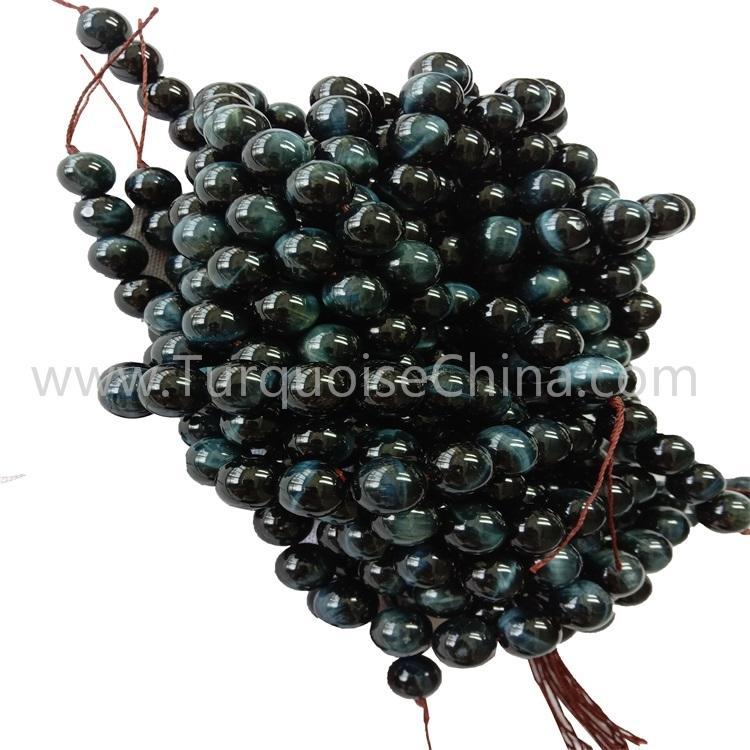 Fashion Gemstone Natural Blue Tiger's Eye Stone Round Beads Wholesale