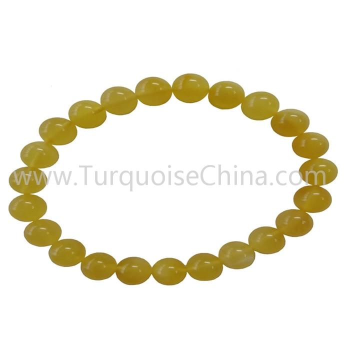 8mm Popular Natural Amber Round Beads Bracelets For Woman And Man