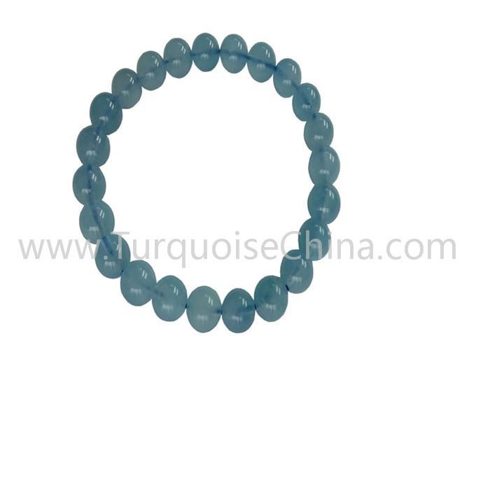 8mm Popular Blue Aquamarine Round Beads Bracelets