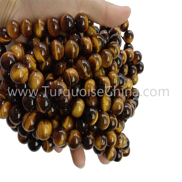 Fashion Handmade Yellow Tiger's Eye Gemstone Round Beads Strings