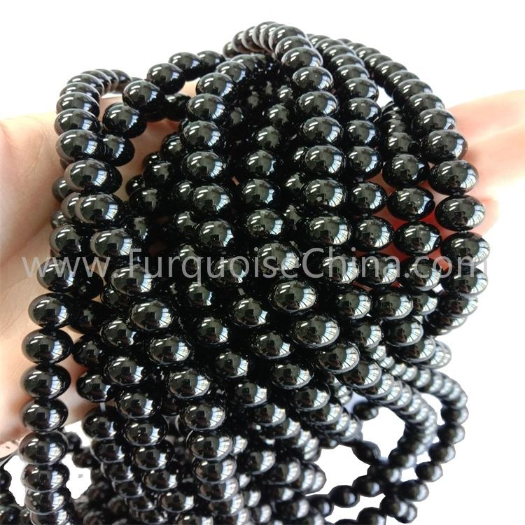 Rare Natural Black Onyx Round Beads Gemstone Strings Wholesale