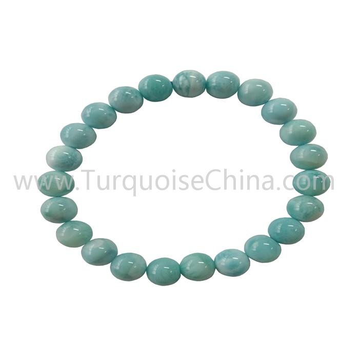 Genuine Larimar Round Beads Bracelets Gift For Man And Woman