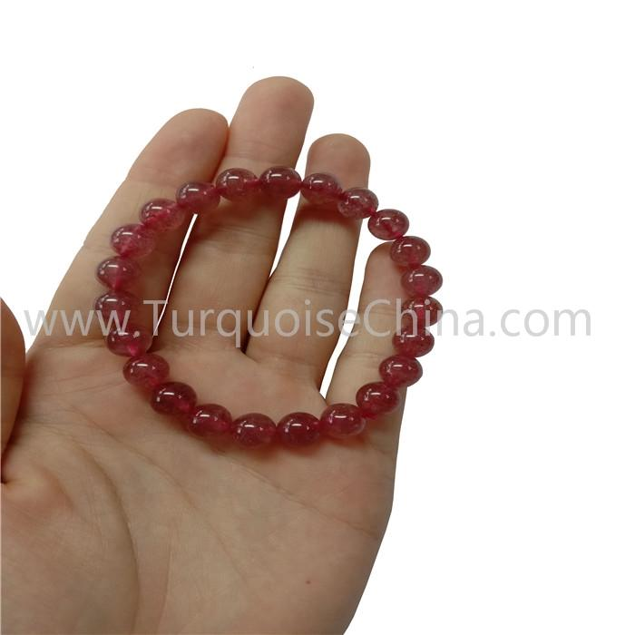 Attractive Red Strawberry Crystal Round Beads Bracelet Gemstone