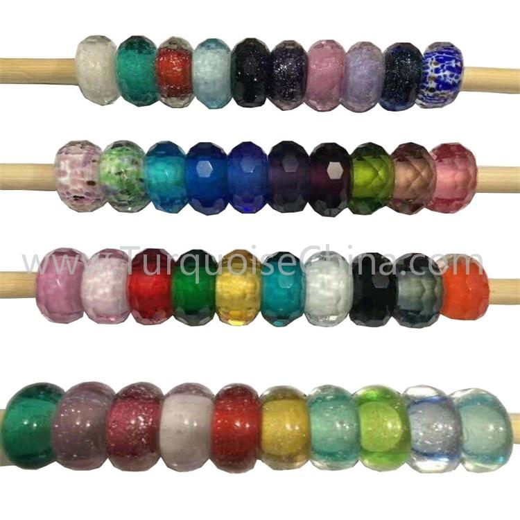 Coloured Glaze Silver Beads Various Charms Fit For Necklace Bracelets Wholesale