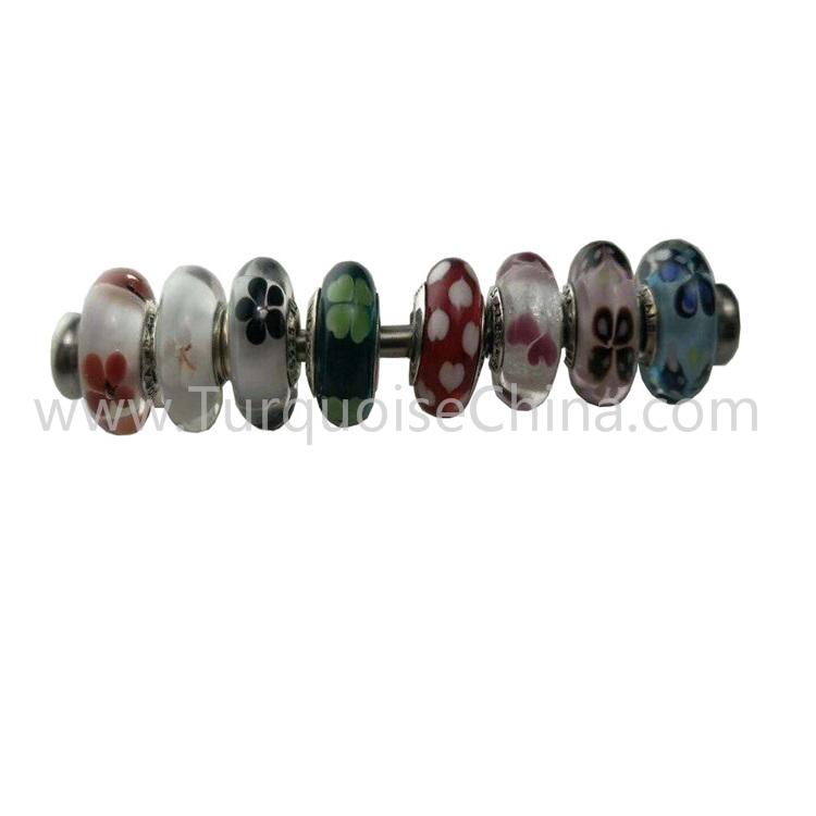 Coloured Glaze Silver Beads Lovely Charms For Making Jewelry