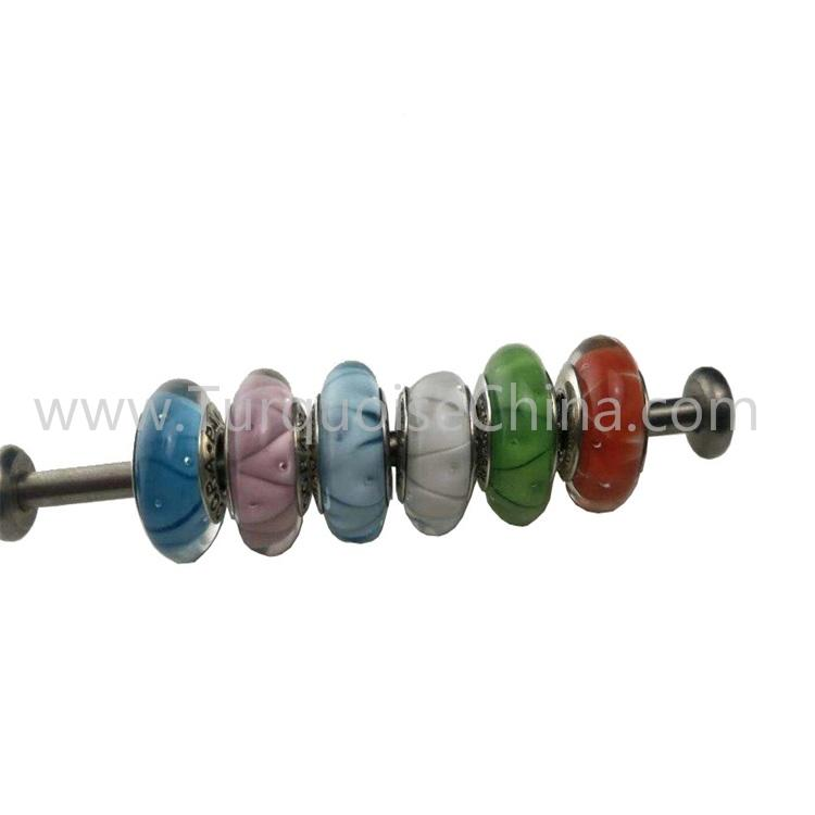 Beautiful Colored Glaze Silver Charms Beads Wholesale Handmade Gemstone