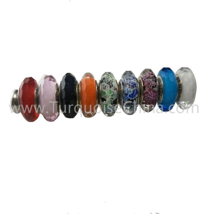 Beautiful Colored Glaze Silver Charms Beads Wholesale Handmade Gemstone