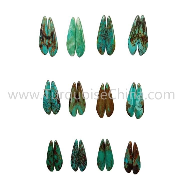 24.2x12.3mm natural turquoise left and right match smooth polishing gemstone wholesale