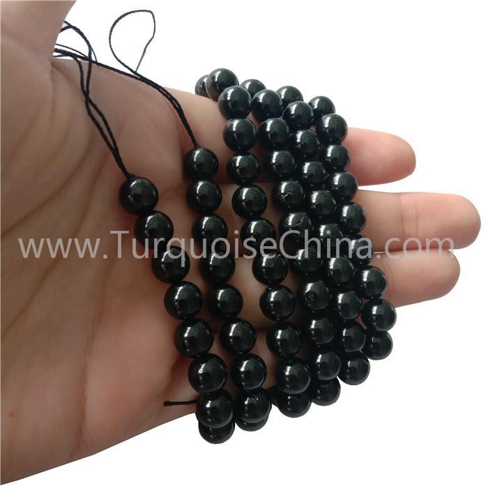 Genuine Black Spinel Smooth Round Beads Gemstone Strings