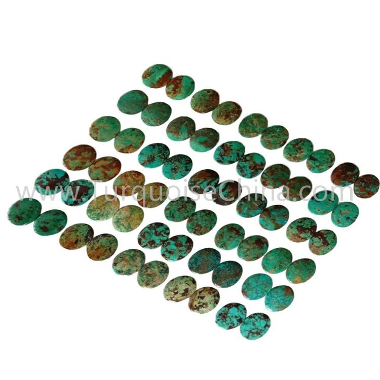 15.6x20.8x3.8mm New Turquoise Left And Right Match Pairs Smooth Oval Cabochon