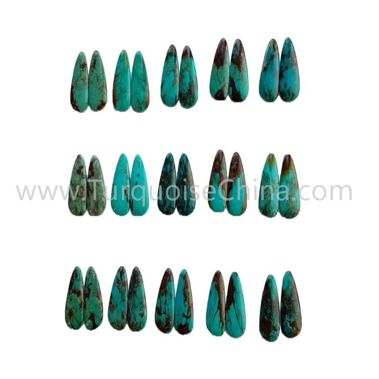 22x14x3.8mm Wonderful Turquoise Pairs Polishing Triangle Cabochon