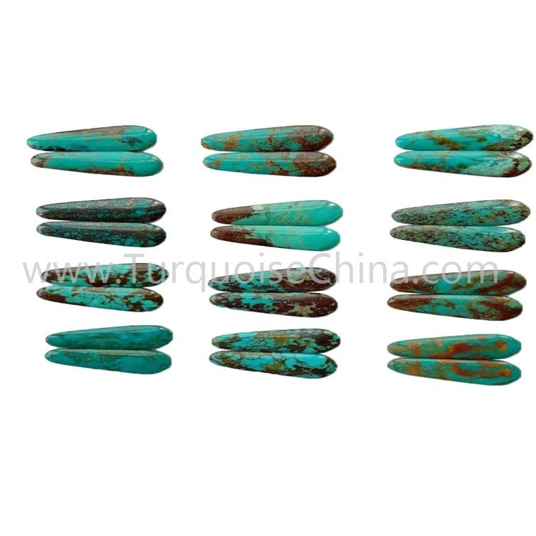 31.5x12.6x3.8mm Natural Turquoise Trapezoid Cabochon Pairs For Making Earrings