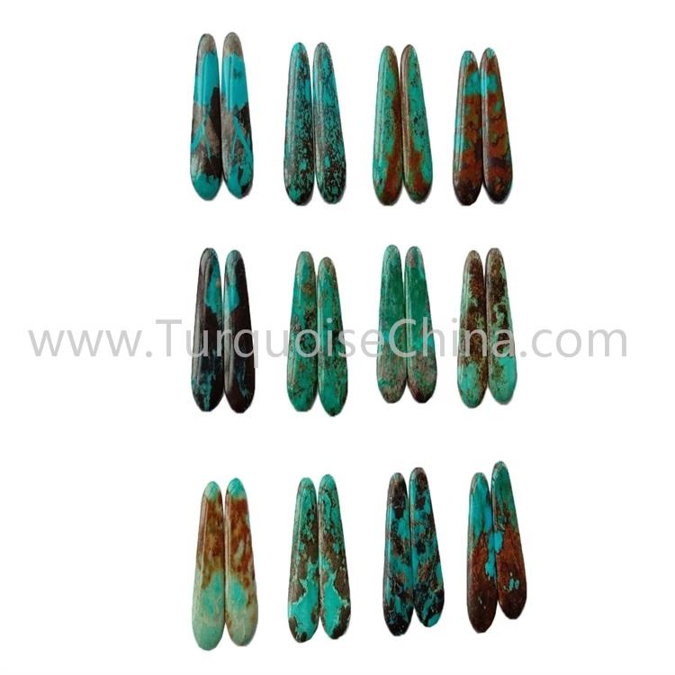35x14x3.8mm Natural Turquoise Pairs Trapezoid Cabochon Wholesale