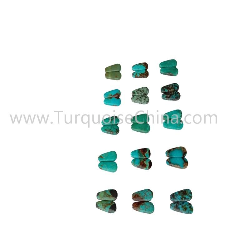 22.4x9x3.8mm Beautiful Turquoise Trapezoid Cabochon Pairs