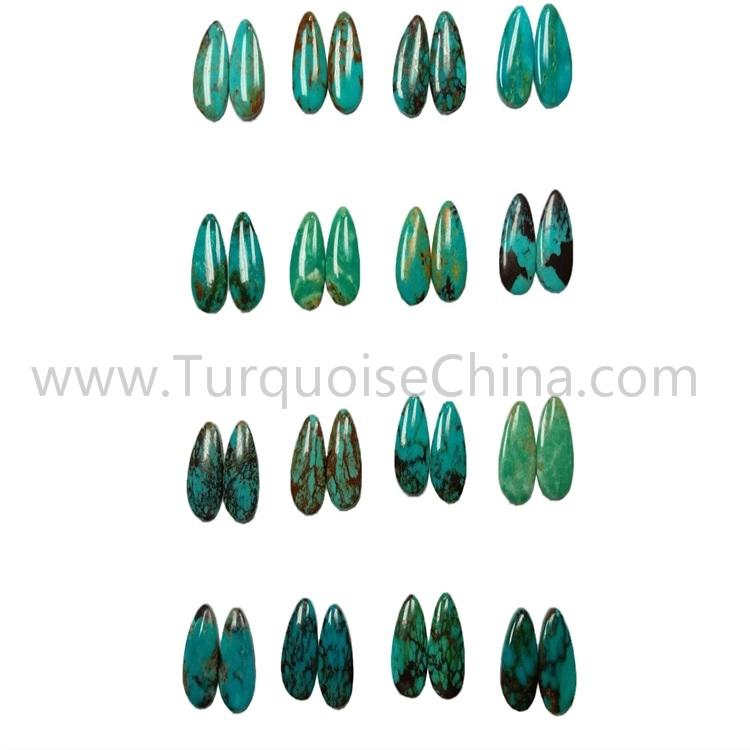 12x16x3.8mm Natural Turquoise Gemstone Pear Cabochon Pairs