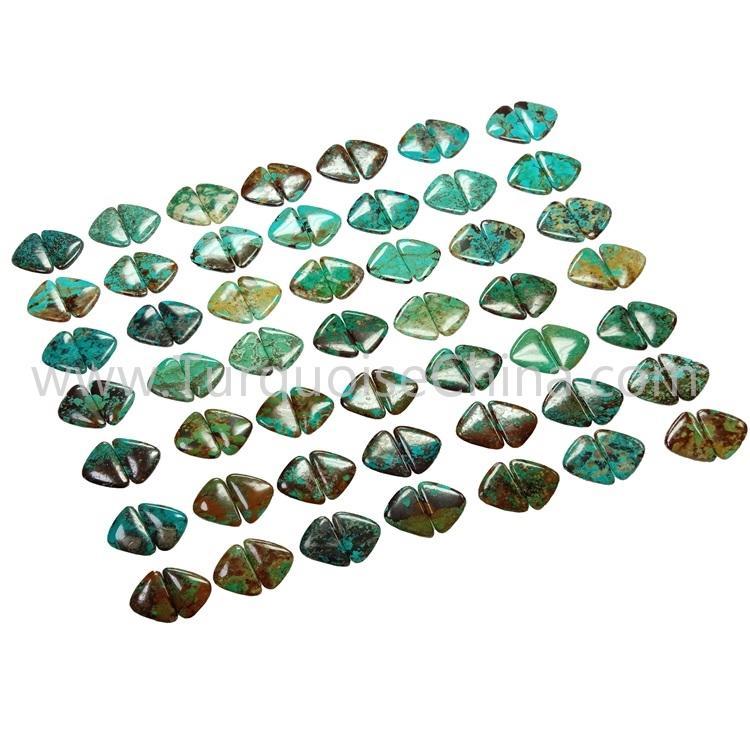 34.3X21X3.8mm Genuine Turquoise Gemstone Triangle Cabochon Pairs
