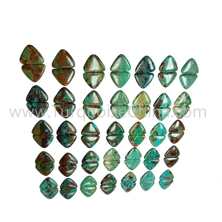 34.3X21X3.8mm Genuine Turquoise Gemstone Triangle Cabochon Pairs